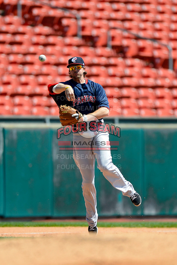 Pawtucket Red Sox third baseman Drew Sutton #44 during the first game of a doubleheader against the Buffalo Bisons on April 25, 2013 at Coca-Cola Field in Buffalo, New York.  Pawtucket defeated Buffalo 8-3.  (Mike Janes/Four Seam Images)