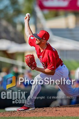 28 February 2019: St. Louis Cardinals pitcher Mike Mayers on the mound during a Spring Training game against the New York Mets at Roger Dean Stadium in Jupiter, Florida. The Mets defeated the Cardinals 3-2 in Grapefruit League play. Mandatory Credit: Ed Wolfstein Photo *** RAW (NEF) Image File Available ***