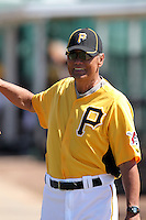 Pittsburgh Pirates special instructor Mike Lum during an Instructional League game against the Atlanta Braves at Pirate City on October 14, 2011 in Bradenton, Florida.  (Mike Janes/Four Seam Images)