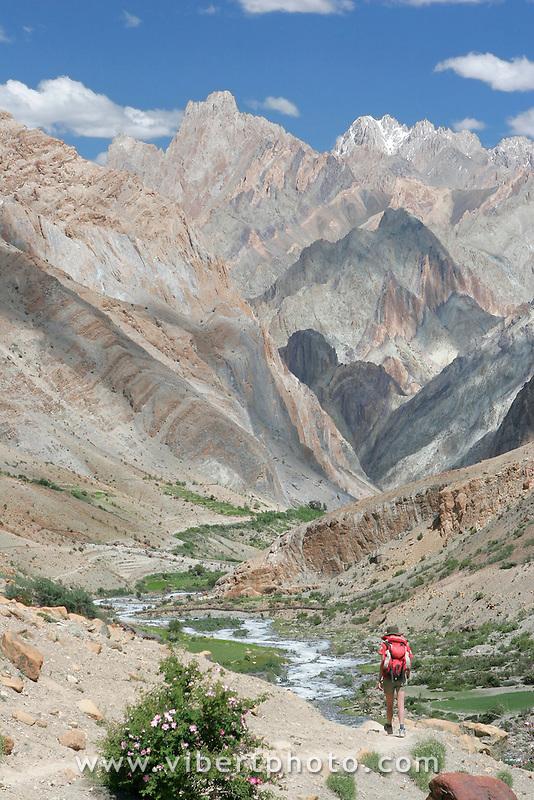 Pics acérés au coeur du massif du Zanskar. La structure géologique complexe de cette région explique les couleurs étonnantes de ces montagnes. Ladakh Himalaya Inde. Photo : Vibert / Actionreporter.com