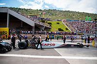 Jul 21, 2019; Morrison, CO, USA; NHRA top fuel driver Steve Torrence during the Mile High Nationals at Bandimere Speedway. Mandatory Credit: Mark J. Rebilas-USA TODAY Sports