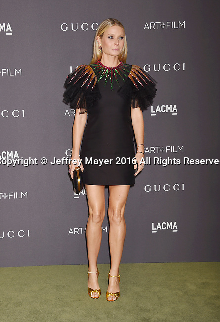 LOS ANGELES, CA - OCTOBER 29: Actress Gwyneth Paltrow attends the 2016 LACMA Art + Film Gala honoring Robert Irwin and Kathryn Bigelow presented by Gucci at LACMA on October 29, 2016 in Los Angeles, California.