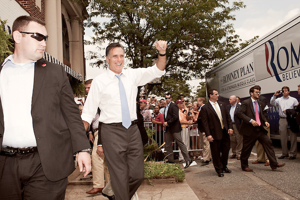 August 11, 2012. Ashland, VA.. Republican Presidential candidate Mitt Romney greets the crowd during a stop at Homemades by Suzanne, a local restaurant and caterer..  Republican presidential candidate Mitt Romney campaigned through Virginia and North Carolina over the weekend, showing off his new vice presidential pick Paul Ryan. The candidates stopped at several small businesses highlighting their promise to champion the needs of business owners across the country.