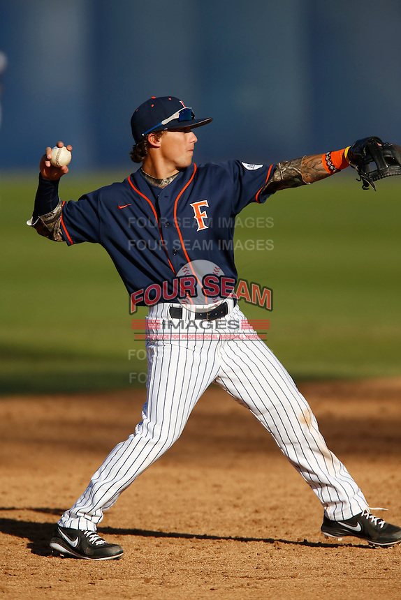 Richy Pedroza #6 of the Cal State Fullerton Titans during a game against the Nebraska Cornhuskers at Goodwin Field on February 16, 2013 in Fullerton, California. Cal State Fullerton defeated Nebraska 10-5. (Larry Goren/Four Seam Images)