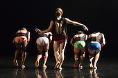 London, UK. 10 May 2016. Stephen Wright, centre. 28 dancers from Rambert and the Rambert School of Ballet and Contemporary Dance perform a revial of A Linha Curva by Itzik Galili at Sadler's Wells Theatre. The Rambert Triple Bill  Murder, Mystery and a Party - A Linha Curva plus other works runs from 10 to 14 May 2016. Editorial Use Only.
