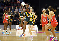 03.09.2017 South Africa's Bongiwe Msomi in action during the Quad Series netball match between England and South Africa at the ILT Stadium Southland in Invercargill. Mandatory Photo Credit ©Michael Bradley.
