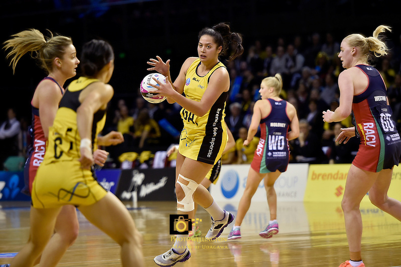 Pulse's Te Amo Amaru-Tibble in action during the ANZ Championship - Central Pulse v Vixens at TSB Bank Arena, Wellington, New Zealand on Monday 4 July 2016. <br /> Photo by Masanori Udagawa. <br /> www.photowellington.photoshelter.com.