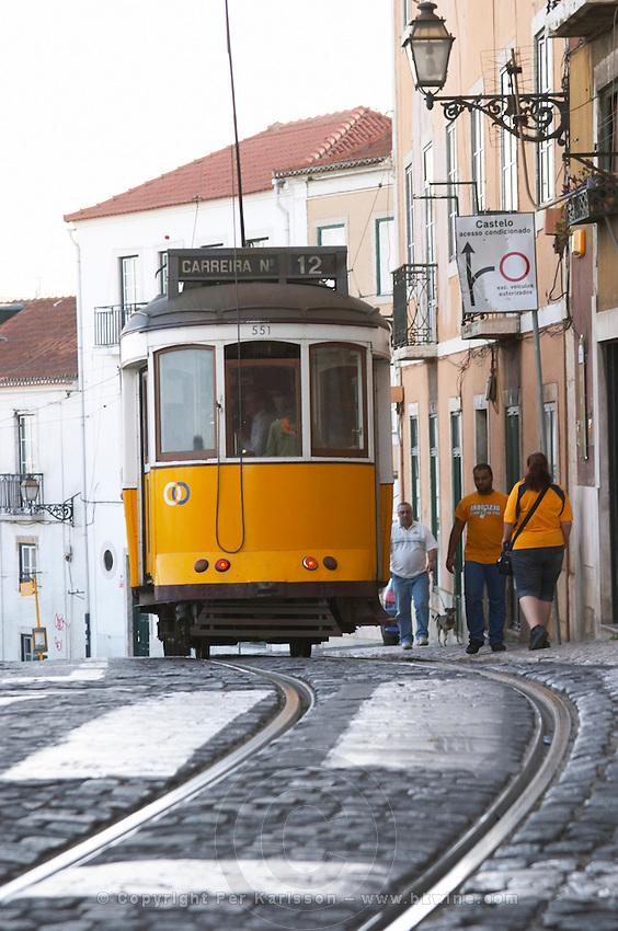 tram alfama district lisbon portugal
