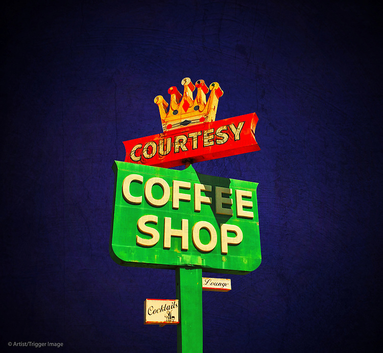 Glowing 1950's street sign for coffee shop