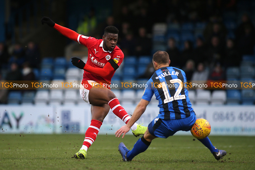 Mamadou Thiam of Barnsley takes a shot at the Gillingham goal during Gillingham vs Barnsley, Sky Bet EFL League 1 Football at The Medway Priestfield Stadium on 9th February 2019