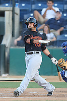 David Vidal #13 of the Bakersfield Blaze bats against the Rancho Cucamonga Quakes at LoanMart Field on June 9, 2014 in Rancho Cucamonga, California. Bakersfield defeated Rancho Cucamonga, 3-1. (Larry Goren/Four Seam Images)
