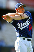 Jeff Shaw of the Los Angeles Dodgers during a game at Dodger Stadium circa 1999 in Los Angeles, California. (Larry Goren/Four Seam Images)