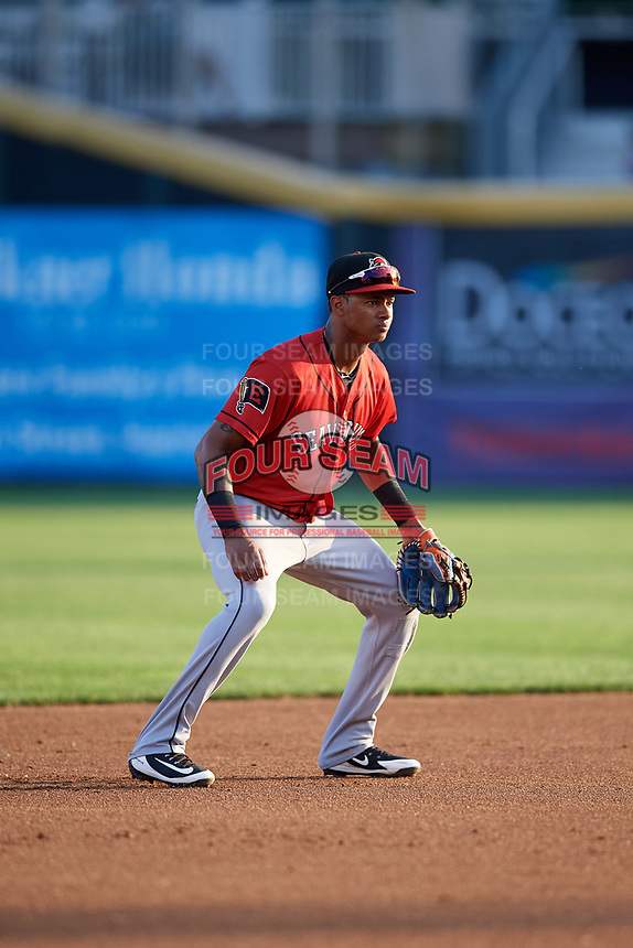 Erie SeaWolves shortstop Sergio Alcantara (1) during a game against the Harrisburg Senators on August 29, 2018 at FNB Field in Harrisburg, Pennsylvania.  Harrisburg defeated Erie 5-4.  (Mike Janes/Four Seam Images)