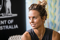 Margaret River, Western Australia    (Tuesday, April 10, 2018) Sally Fitzgibbons (AUS) - The Margaret River Pro, Stop No. 3 on the World Surf League (WSL) Championship Tour (CT) is only one day away.<br /> Surfers, politicians and dignitaries attended a press session this morning at the contest site to kick off this year's event. Current ratings leaders Italo Ferreira (BRA) and Stephanie Gilmore (AUS), current World Champion John John Florence (HAW) and WA Minister for Tourism Paul Papalia were in attendance. Photo: joliphotos.com