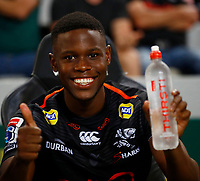 Aphelele Fassi of the Cell C Sharks during the Super rugby match between the Cell C Sharks and the Emirates Lions at Jonsson Kings Park Stadium in Durban, South Africa 30 March 2019. Photo: Steve Haag / stevehaagsports.com