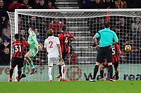 Lys Mousset of AFC Bournemouth left heads  past Jack Butland of Stoke City for the second goal during AFC Bournemouth vs Stoke City, Premier League Football at the Vitality Stadium on 3rd February 2018