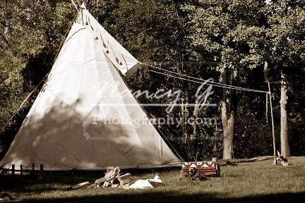 A Native American Indian tipi campsite