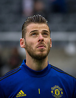 Goalkeeper David De Gea of Man Utd pre match during the Premier League match between Newcastle United and Manchester United at St. James's Park, Newcastle, England on 6 October 2019. Photo by J GILL / PRiME Media Images.