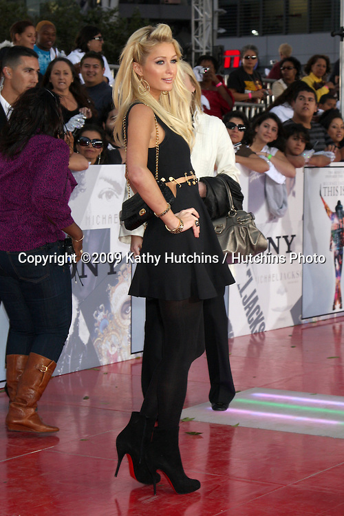 "Paris Hilton.arriving at the ""This is It"" Premiere.Nokia Theater at LA Live.Los Angeles,   CA.October 27, 2009.©2009 Kathy Hutchins / Hutchins Photo."