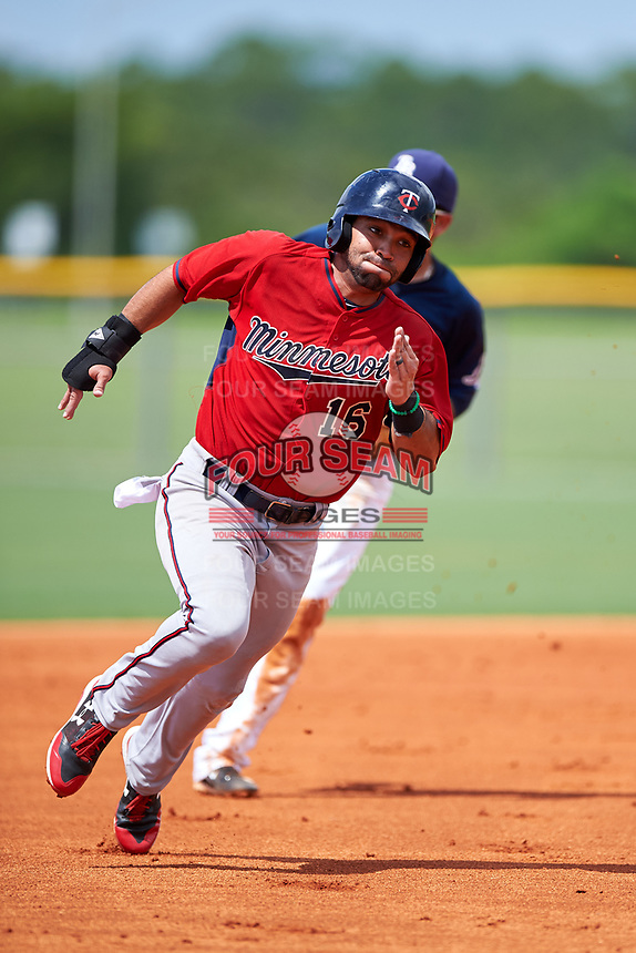 GCL Twins left fielder Alex Robles (16) runs the bases during the first game of a doubleheader against the GCL Rays on July 18, 2017 at Charlotte Sports Park in Port Charlotte, Florida.  GCL Twins defeated the GCL Rays 11-5 in a continuation of a game that was suspended on July 17th at CenturyLink Sports Complex in Fort Myers, Florida due to inclement weather.  (Mike Janes/Four Seam Images)