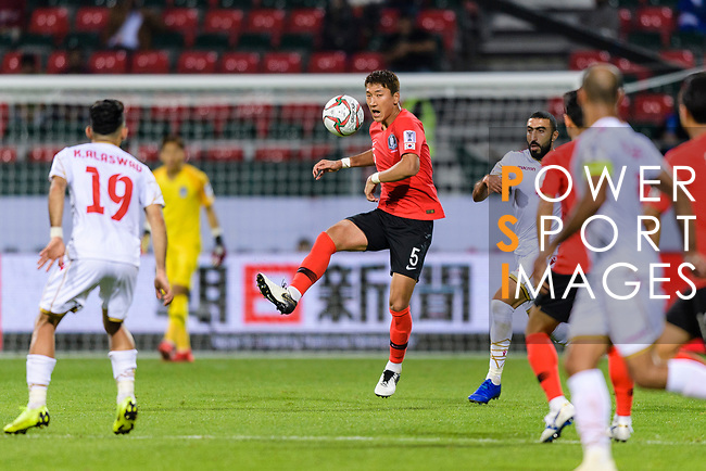 Jung Wooyoung of South Korea (C) in action during the AFC Asian Cup UAE 2019 Round of 16 match between South Korea (KOR) and Bahrain (BHR) at Rashid Stadium on 22 January 2019 in Dubai, United Arab Emirates. Photo by Marcio Rodrigo Machado / Power Sport Images