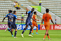 17th November 2019; Bezerrao Stadium, Brasilia, Distrito Federal, Brazil; FIFA U-17 World Cup football 3rd placed game 2019, Netherlands versus France; Arnaud Kalimuendo-Muinga of France celebrates his goal with Nianzou Kouassi in the 54th minute 1-2 - Editorial Use