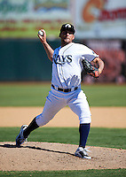 Phoenix Desert Dogs pitcher Lenny Linsky #26, of the Tampa Bay Rays organization, during an Arizona Fall League game against the Peoria Javelinas at Phoenix Municipal Stadium on October 12, 2012 in Phoenix, Arizona.  Phoenix defeated Peoria 13-3.  (Mike Janes/Four Seam Images)