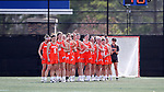 DURHAM, NC - FEBRUARY 16: Campbell's players line up for the national anthem. The Duke University Blue Devils hosted the Campbell University Camels on February 16, 2018, at Koskinen Stadium in Durham, NC in women's college lacrosse match. Duke won the game 18-8.