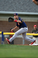 State College Spikes first baseman Jake Stone (32) waits for a throw during a game against the Batavia Muckdogs on July 3, 2014 at Dwyer Stadium in Batavia, New York.  State College defeated Batavia 7-1.  (Mike Janes/Four Seam Images)