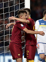 Football, Serie A: AS Roma - Frosinone, Olympic stadium, Rome, 26 September 2018. <br /> Roma's Stephan El Shaarawy (r) celebrates after scoring with his teammate Cengiz Under (l) during the Italian Serie A football match between AS Roma and Frosinone at Olympic stadium in Rome, on September 26, 2018.<br /> UPDATE IMAGES PRESS/Isabella Bonotto