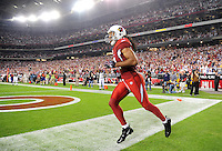 Dec 6, 2009; Glendale, AZ, USA; Arizona Cardinals wide receiver (11) Larry Fitzgerald after scoring a first half touchdown against the Minnesota Vikings at University of Phoenix Stadium. The Cardinals defeated the Vikings 30-17. Mandatory Credit: Mark J. Rebilas-