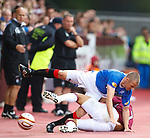 Suso Santana upends Kenny Miller off the side of the track