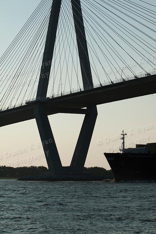 Container Ships charleston south carolina Arthur Ravenel Jr Bridge Cooper River