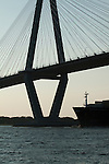 Container Ships charleston south carolina Arthur Ravenel Jr Bridge Cooper River