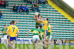 Kerry's Kieran Murphy gets above Clare's Dara Walsh at Austin Stack park, Tralee on Saturday.