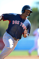 Boston Red Sox outfielder Henry Ramos (85) during a spring training game against the Baltimore Orioles on March 8, 2014 at Ed Smith Stadium in Sarasota, Florida.  Baltimore defeated Boston 7-3.  (Mike Janes/Four Seam Images)