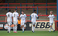 Celebrations as Matt McClure of Aldershot Town scores the 2nd goal during the pre season friendly match between Aldershot Town and Chelsea U23 at the EBB Stadium, Aldershot, England on 19 July 2017. Photo by Andy Rowland / PRiME Media Images.