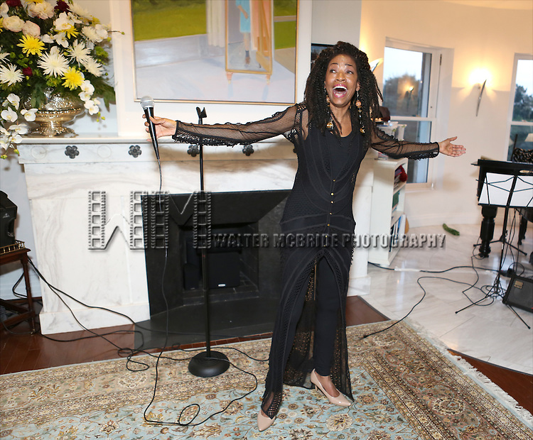 Adriane Lenox performs at 'Parlor Night' A benefit evening for The Broadway Inspirational Voices Outreach Program at the home of Roy and Jenny Neiderhoffer on June 22, 2015 in New York City.