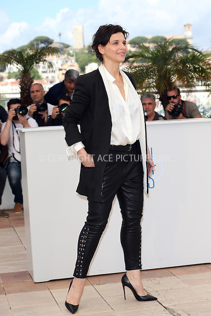 ACEPIXS.COM<br /> <br /> May 23 2014, Cannes<br /> <br /> Actress Juliette Binoche at the photocall for &quot;Sils Maria&quot; during the 67th Cannes International Film Festival at Palais des Festivals on May 23 2014 in Cannes, France<br /> <br /> By Line: Famous/ACE Pictures<br /> <br /> ACE Pictures, Inc.<br /> www.acepixs.com<br /> Email: info@acepixs.com<br /> Tel: 646 769 0430