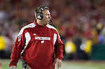 Wisconsin Badgers Head Coach Bret Bielema looks on during the 2012 Rose Bowl NCAA football game against the Oregon Ducks in Pasadena, California on January 2, 2012. The Ducks won 45-38. (Photo by David Stluka)