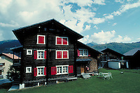 Traditional style Swiss house. Disentis, Switzerland Europe.