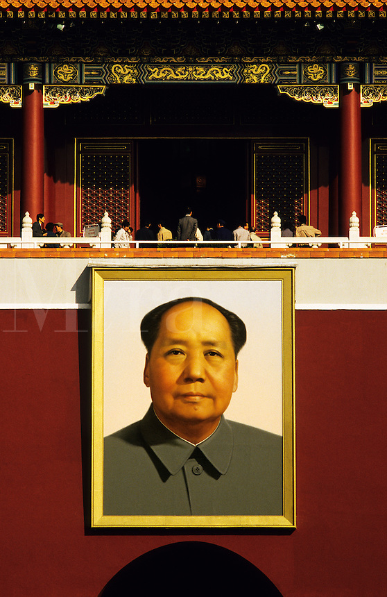 China. Beijing/Peking. Giant portrait of Chairman Mao at the entrance to the Forbidden City..