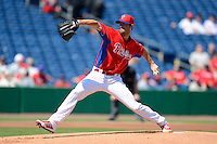 Philadelphia Phillies pitcher Cole Hamels #35 during a Spring Training game against the Dominican Republic at Bright House Field on March 5, 2013 in Clearwater, Florida.  The Dominican defeated Philadelphia 15-2.  (Mike Janes/Four Seam Images)