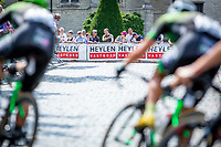 Peloton on the uphill cobbles section in the 3th of 8 local laps. <br /> <br /> Heistse Pijl 2019<br /> One Day Race: Turnhout > Heist-op-den-Berg 194km (UCI 1.1)<br /> ©kramon