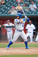 Michael Cruz (8) of the South Bend Cubs at bat against the Lansing Lugnuts at Cooley Law School Stadium on June 15, 2018 in Lansing, Michigan. The Lugnuts defeated the Cubs 6-4.  (Brian Westerholt/Four Seam Images)