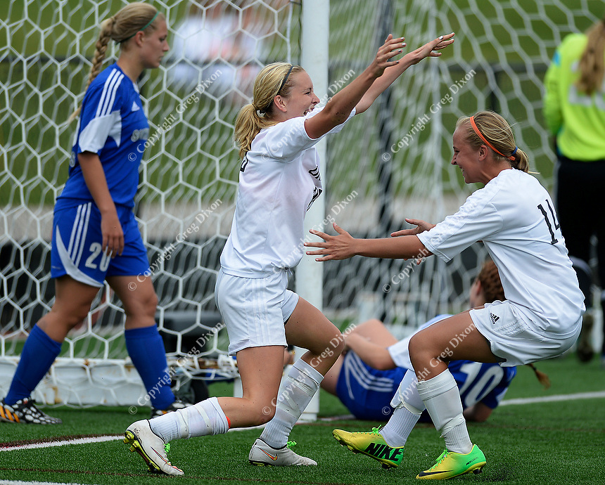 Oregon's Jen Brien celebrates her game winning goal with Kelsey Jahn (right), as Oregon tops Green Bay Southwest 3-0 to win the WIAA Division 2 girls soccer state championship, on Saturday, June 20, 2015 at Uihlein Soccer Park in Milwaukee, Wisconsin