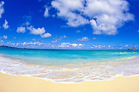 Waimanalo Beach with it's gentle surf and warm blue waters. Located on the windward side of the island of Oahu.