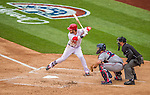 4 April 2014: Washington Nationals outfielder Bryce Harper in action against the Atlanta Braves during the Nationals Home Opening Game at Nationals Park in Washington, DC. The Braves edged out the Nationals 2-1 in their first meeting of the 2014 MLB season. Mandatory Credit: Ed Wolfstein Photo *** RAW (NEF) Image File Available ***