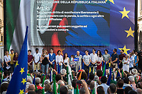 """Rome, 01/06/2018. Today, the Democratic Party, PD, held concurrently two national demonstrations, one in Piazza Santi Apostoli in Rome and another one in Piazza della Scala in Milan. The two rallies, which saw thousands of people waving Italian and European flags, were organised: """"To defend our Country, our Constitution, and our Republic which was born thanks to the blood of the [Antifasist] Partizans"""" (Source – Facebook event page). The temporary Secretary of the Democratic Party, PD, Maurizio Martina said: """"This government is born under the sign of the Right, of its contract, the contract of fear, the contract of nightmares, the contract of the few against the many. We will be the alternative. We are the 'populars' alternative to the populists"""". <br /> <br /> For more information please click here: https://www.partitodemocratico.it/ & https://www.facebook.com/events/400905923758516 <br /> <br /> For a Video of the event please click here: https://youtu.be/o3NTUvy7Kig<br /> <br /> To read the Constitution of the Italian Republic in English please click here (PDF): https://www.senato.it/documenti/repository/istituzione/costituzione_inglese.pdf"""