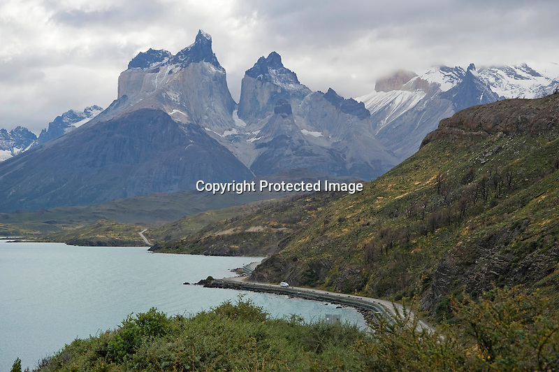 Lago Pehoe below Los Cuernos Horns in Torres del Paine National Park in Patagonia Chile